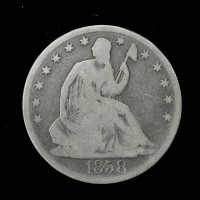 1858-O LIBERTY SEATED HALF DOLLAR 50c G6