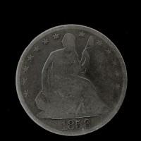 1858-O LIBERTY SEATED HALF DOLLAR 50c G4