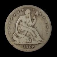 1862-S Ty'2 Rev LIBERTY SEATED HALF DOLLAR 50c VG8