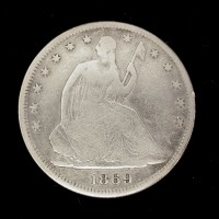 1869 LIBERTY SEATED HALF DOLLAR 50c G6