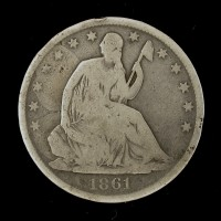 1861-O Ty'2 Rev LIBERTY SEATED HALF DOLLAR 50c G6