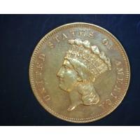1859 INDIAN $3 00 GOLD $3 AU55
