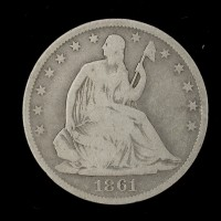 1861-O Ty'1 Rev LIBERTY SEATED HALF DOLLAR 50c G6