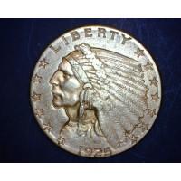 1925-D INDIAN $2 50 GOLD $2.50 AU50