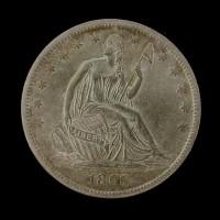 1865-S LIBERTY SEATED HALF DOLLAR 50c AU55