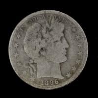 1896-S BARBER HALF DOLLAR 50c VG8