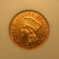1874 INDIAN $3 00 GOLD $3 AU55 NGC