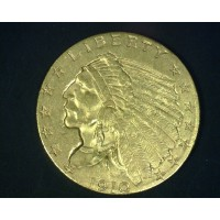 1910 INDIAN $2 50 GOLD $2.50 AU55