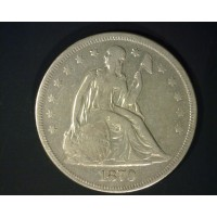 1870 LIBERTY SEATED DOLLAR $1 VF20