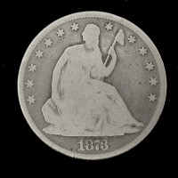 1873 Cl3 No Arr LIBERTY SEATED HALF DOLLAR 50c G4