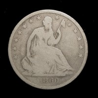 1860-O Ty'2 Rev LIBERTY SEATED HALF DOLLAR 50c G6