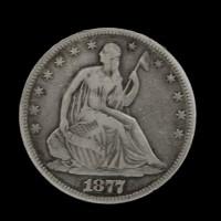 1877 Ty'2 Rev LIBERTY SEATED HALF DOLLAR 50c F12