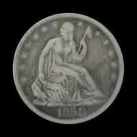 1858-O LIBERTY SEATED HALF DOLLAR 50c F15