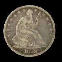 1869 LIBERTY SEATED HALF DOLLAR 50c VF35