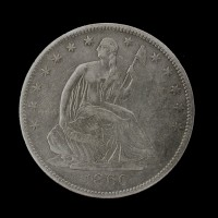 1860-O LIBERTY SEATED HALF DOLLAR 50c EF40