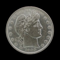 1905-S BARBER HALF DOLLAR 50c AU55 White