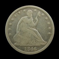 1846-O TD LIBERTY SEATED HALF DOLLAR 50c VG8