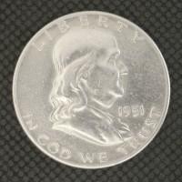 1951-D FRANKLIN HALF DOLLAR 50c AU50