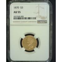 1870 INDIAN $3 00 GOLD $3 AU55 NGC