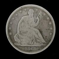 1861 LIBERTY SEATED HALF DOLLAR 50c G6