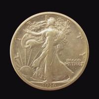 1916-D WALKING LIBERTY HALF DOLLAR 50c EF40