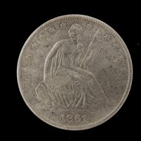 1861-O Ty'1 Rev LIBERTY SEATED HALF DOLLAR 50c EF48