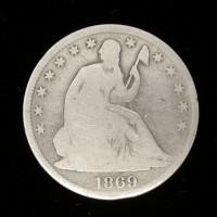 1869 LIBERTY SEATED HALF DOLLAR 50c G4
