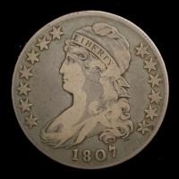 1807 Lg Stars CAPPED BUST HALF DOLLAR 50c F12