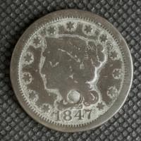 1847 LIBERTY HEAD LARGE CENT 1c G4