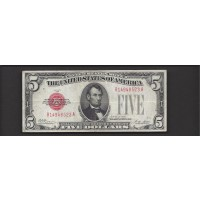 1928 $5 UNITED STATES NOTE $5 VF20