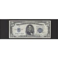 1934-D Wide $5 SILVER CERTIFICATE $5 VF35