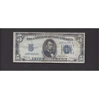 1934-A $5 SILVER CERTIFICATE $5 VF30