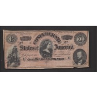 USA-C.S.A., 1864 Type 65 $100 F12 CR494D