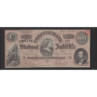 USA-C.S.A., 1864 Type 65 $100 EF40 CR490A