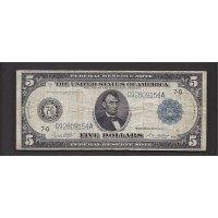 1914 Blue Seal $5 FEDERAL RESERVE NOTE $5 F12