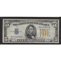 1934-A $5 WORLD WAR II NORTH AFRICA NOTE $5 F12