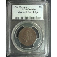 1793 Wreath/Vine-Bar Edge FLOWING HAIR LARGE CENT 1c Genuine PCGS