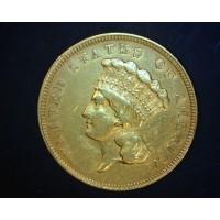 1859 INDIAN $3 00 GOLD $3 AU50