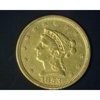1853 LIBERTY $2 50 GOLD $2.50 EF48