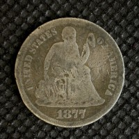 1877 LIBERTY SEATED DIME 10c G/AG