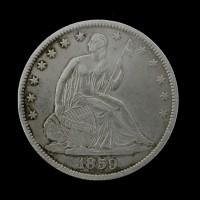 1859-O LIBERTY SEATED HALF DOLLAR 50c EF45