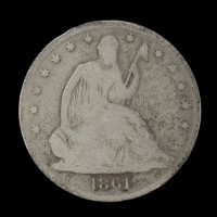 1861-O Ty'2 Rev LIBERTY SEATED HALF DOLLAR 50c G4