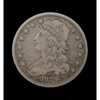 1834 No Period CAPPED BUST QUARTER DOLLAR 25c VF30