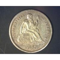 1865-S LIBERTY SEATED DIME 10c AU58