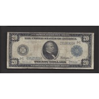 1914 Blue Seal $20 FEDERAL RESERVE NOTE $20 VG8