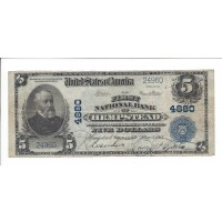 1902 Blue Seal $5 NATIONAL BANK NOTE $5 VF20