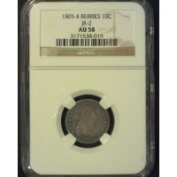 1805 4 Berries DRAPED BUST DIME 10c AU58 NGC