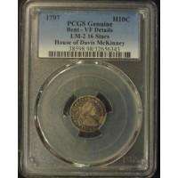 1797 DRAPED BUST HALF DIME 5c (Half Dime) Genuine PCGS
