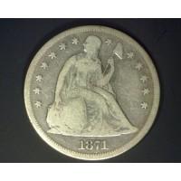 1871 LIBERTY SEATED DOLLAR $1 VG8