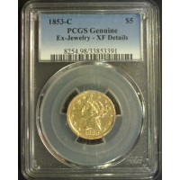 1853-C LIBERTY $5 GOLD $5 Genuine PCGS